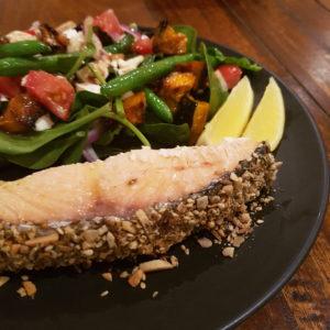 Dukkah Crusted Salmon with Pumpkin, Feta and Bean Salad