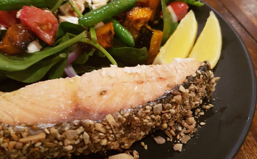 Dukkah Crusted Salmon with Pumpkin, Feta and Bean Salad