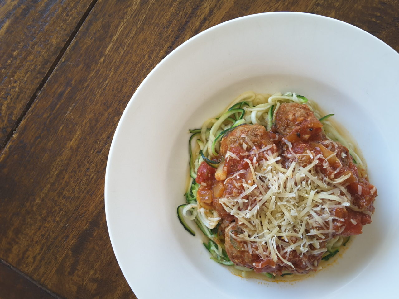 Low Carb Zoodles and Meatballs
