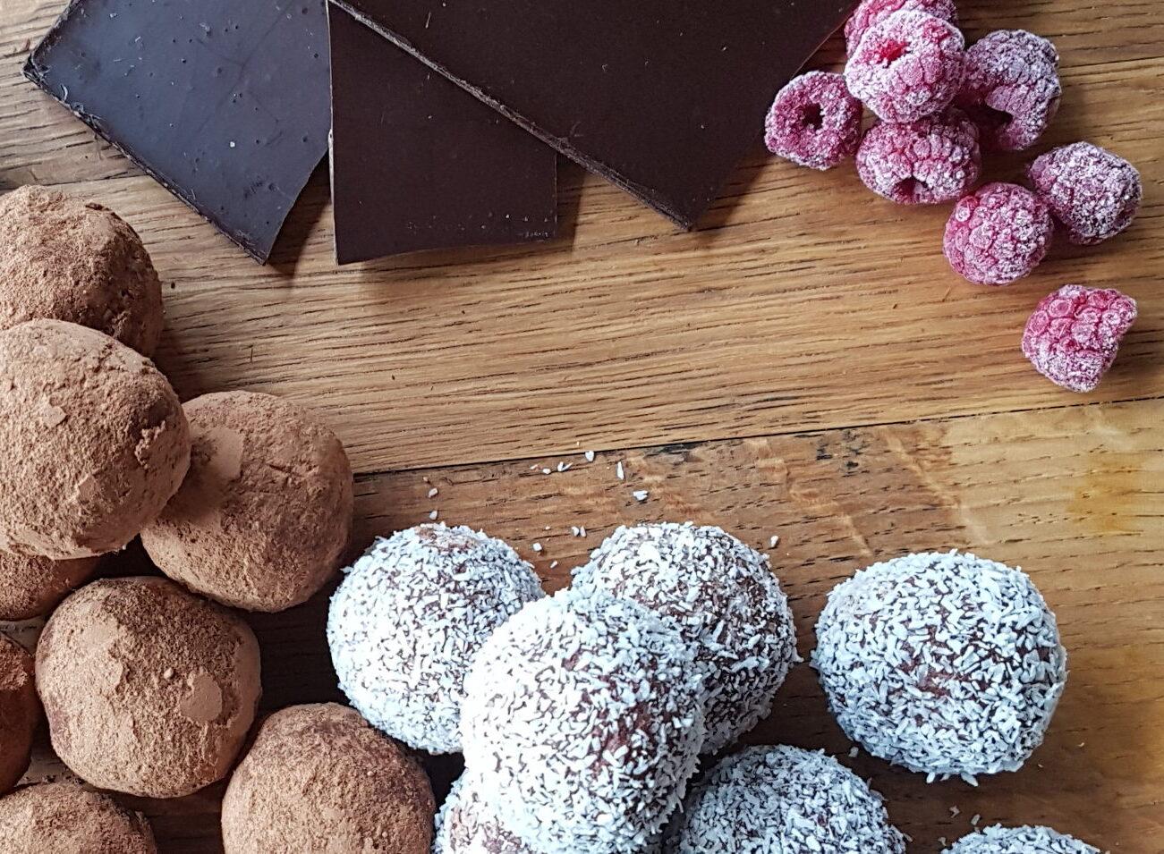 Raspberry Dark Chocolate Cheese Cake Balls