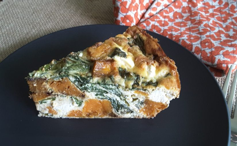 Low Carb Roasted Pumpkin Spinach and Feta Quiche