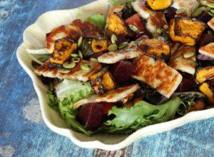 Roasted Pumpkin Haloumi Salad