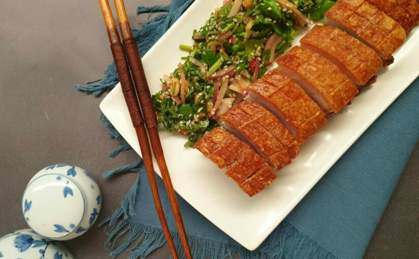 Crispy Pork Belly with Coriander Salad