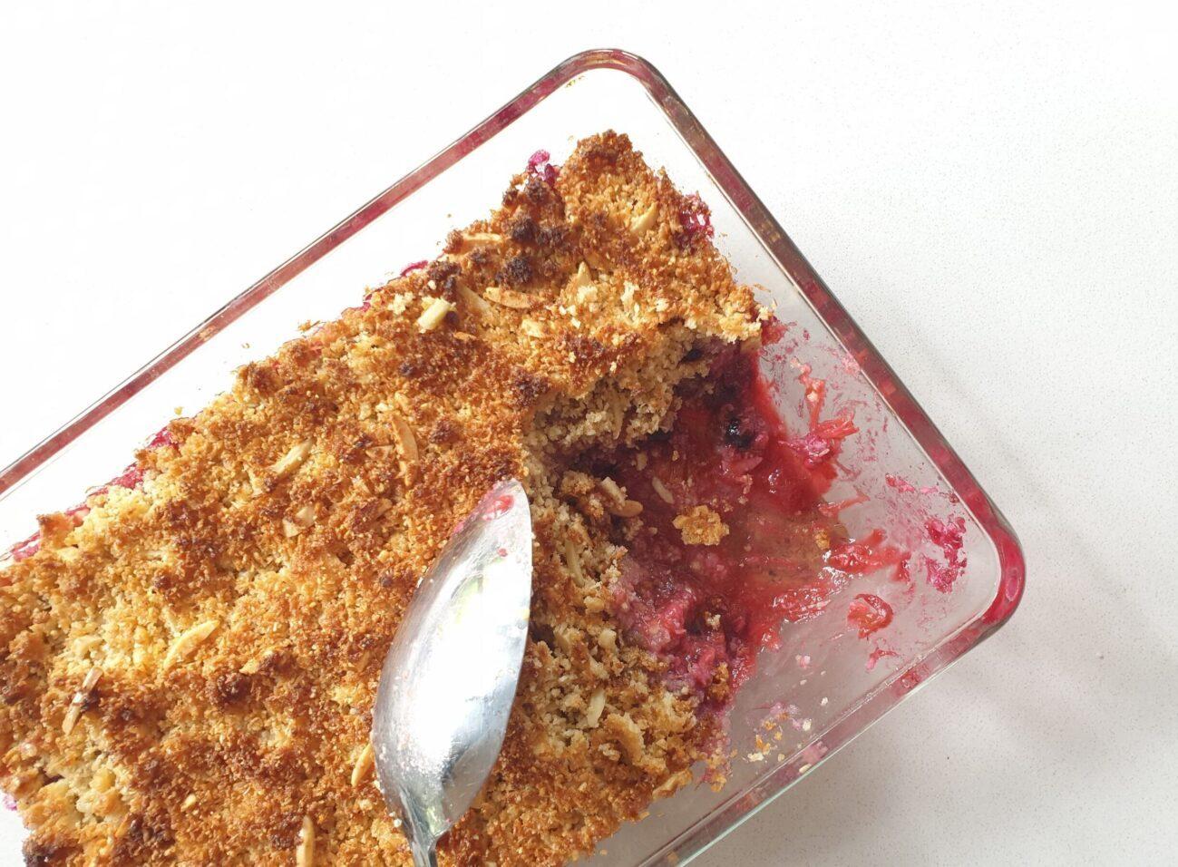 Keto Rhubarb Berry Crumble