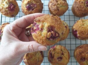 Keto Raspberry White Chocolate Muffins