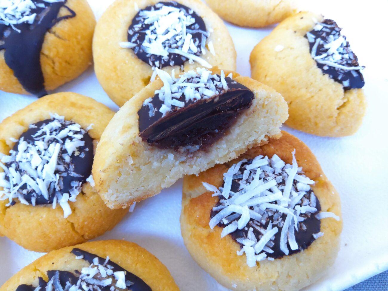 Keto Lamington Thumbprint Cookie